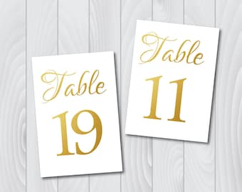 DIY PRINTABLE Gold 5x7 Wedding Table Numbers | Instant Download | Wedding Ceremony Reception Table Numbers | Gold Table Numbers Template