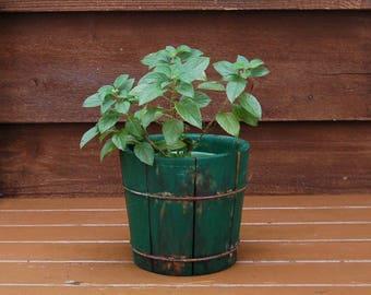 Small Wood Bucket, Vintage Firkin Planter, Green Bucket, Rustic Green Wooden Pail, Little Wooden Bucket, Wood Planter