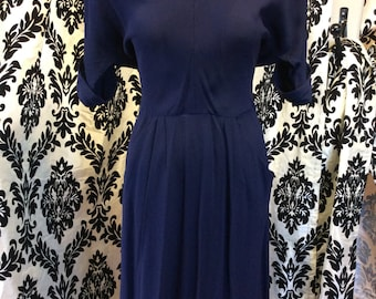 1940's Navy Blue Rayon Dress