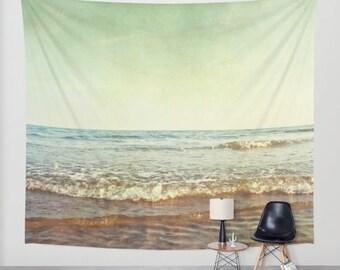 tapestry, large size wall art, wall decor, photo tapestry, modern tapestry, beach tapestry, ocean, sea, waves, seashore