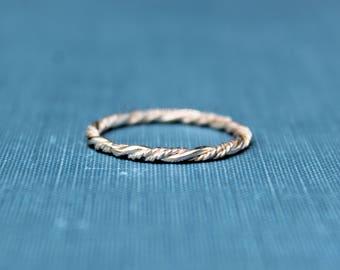 Braided Rope Ring, Stacking Ring, Sterling Silver Ring, Dainty ring, Stacker ring, Simple ring, silver ring, minimalist ring, midi ring