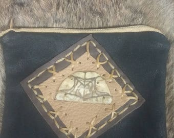 Turtle shell leather bag