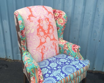 Chair Vintage Wingback Upholstered with Amy Butler Fabric & Cowhide