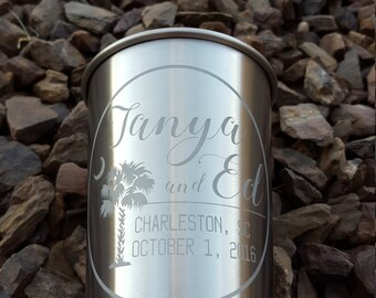 Etched stainless steel pint personalized gift wedding