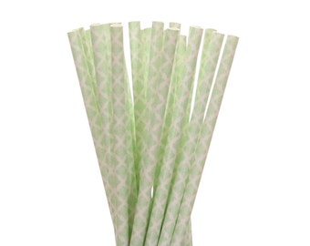 Paper Straws, Mint Green Damask Paper Straws, 1st Birthday Party Decor, Mint To Be Bridal Shower Paper Straw, Mint Garden Tea Party Supplies