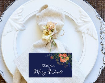 Navy Place Cards, DIY Place Card Printable, Watercolor Flowers and Navy Background Wedding Place Cards, code-036