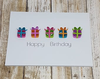 Paper Quilled Happy Birthday Card - 5x6.5
