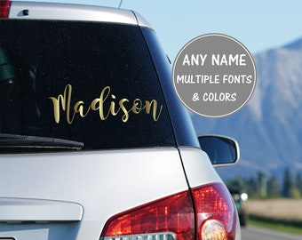 Cursive Name Sticker for Car, Calligraphy Decal Personalized Name Decal Initial Decal for Car, Glitter Decal Car Vinyl Decal Name Decal