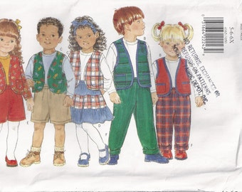 Jacket Vest Top Skirt Shorts And Pants Boy's Or Girl's Size 5 6 6X Children's Sewing Pattern 1995 Butterick 4165