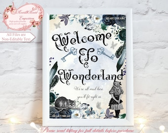 Alice in Wonderland Print, Welcome to Wonderland Wall Art, We're all mad here, Cheshire Cat Print, Printable Wall Art, Wonderland Poster