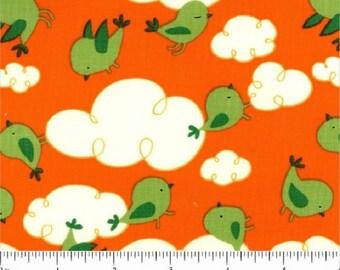 """FreeSpirit """"Garden""""  by David Walker  Dusk Clouds  Orange Cotton Fabric"""