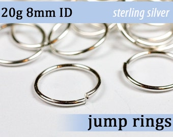 20g 8.0mm ID sterling silver 925 jump rings -- 20g8.00 open jumprings