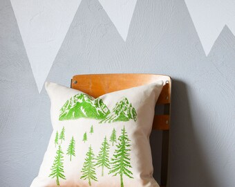 Throw Pillow - Throw Pillow Covers - Screen Printed Pillows - Pillow Case - Home Decor - Kids Room - Decorative Pillows - Nursery - Mountain
