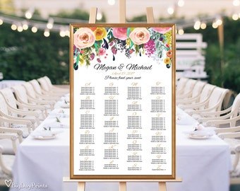 Wedding Seating Chart Template, Floral Wedding Table Plan by Alphabet, #A001, INSTANT DOWNLOAD with EDITABLE text - you personalize at home