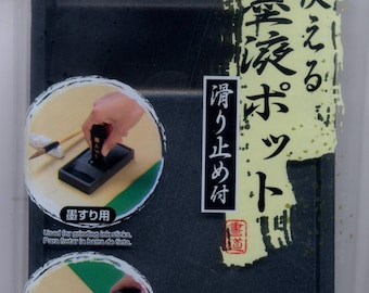 Rectangular ink stone for oriental painting and calligraphy, small Traditional handmade From Japan