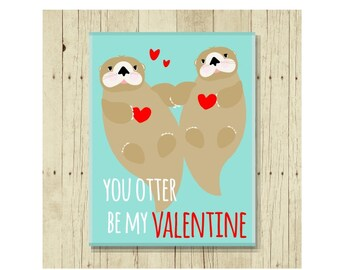 Valentine Gift, Love Magnet, Funny Magent, Refrigerator Magnet, Otter Gift, Otter Art, Gifts Under 10, Small Gift, Valentine Magnets