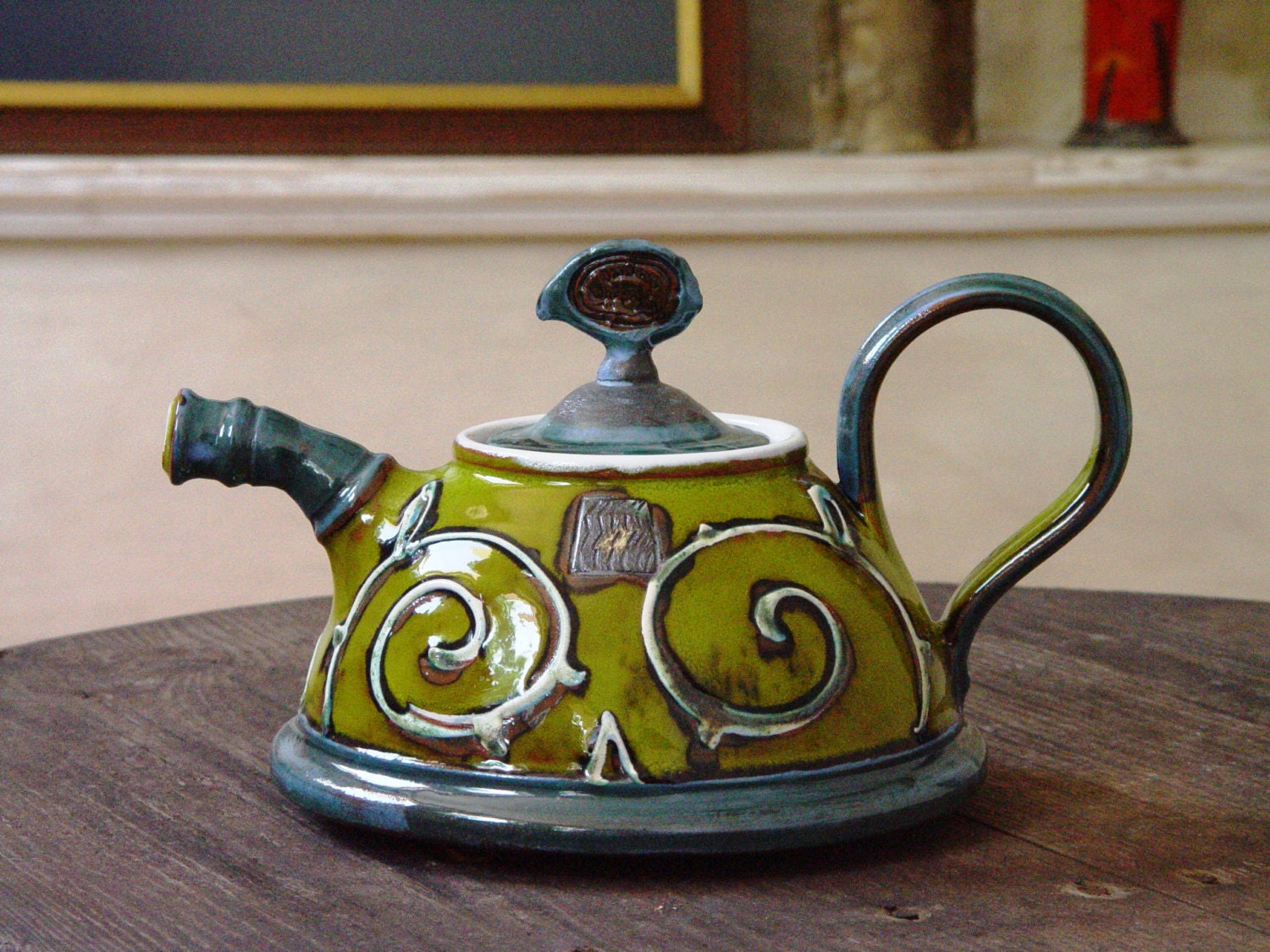 Green Ceramic Teapot Pottery Teapot Handmade Tea Pot