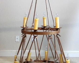 Wrought Iron Large Chandelier Handmade Two Tier