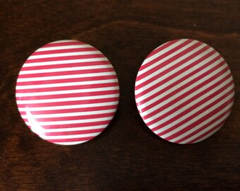 1980's vintage nautical red & white striped shoe clips