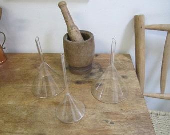 Vintage Scientific Laboratory Glass Funnel. Clear Glass Funnel - science repurpose lab glass funnel. Glass funnel #2