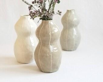 Ceramic vase, Medium tall vase, modern style, white vase. Neutral palette, home decor. art pottery vase. feminine organic form