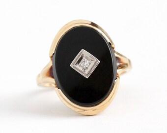 Vintage Onyx Ring - 10k Rosy Yellow Gold Genuine Diamond Black Onyx Statement - 1950s Size 5 1/4 Oval Chalcedony Gemstone 50s Fine Jewelry
