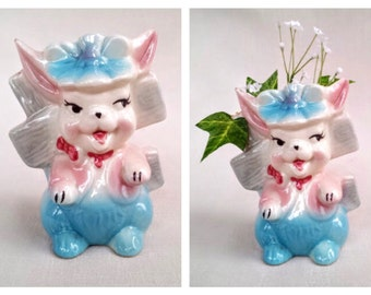 Vintage 1950s Ceramic Easter Bunny Rabbit Figurine, Small 5 Inch Flower Vase or Planter, Vintage Easter Decoration, Easter Centerpiece