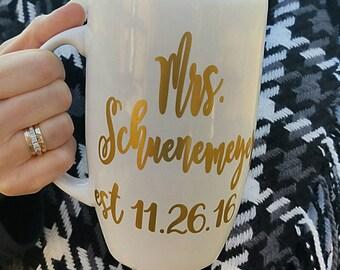 Mrs Established - Large Latte Mug - Gold Vinyl Decal - Wedding Gift - Engagement Gift - Anniversary Gift - Bridal Shower Gift - New Bride