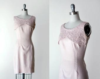 1960 pink dress. 60's wiggle dress. pink pastel dress. small. light pink dress. beaded. 60 mini dress.