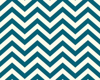 Organic Cotton Fabric by the Yard -- Birch Fabrics Skinny Chev Teal (Blue Chevron)