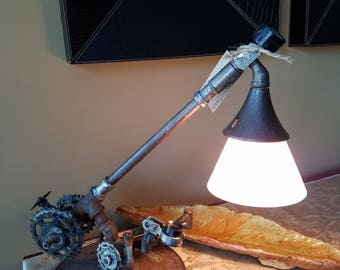 Unique Steampunk Table Lamp with Salvaged Gears
