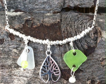 Sea Glass & Tree of Life Necklace