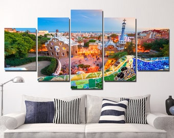 LARGE XL Barcelona, Spain Canvas Print Park Guell Canvas Carmel Hill, in Barcelona, Catalonia Wall Art Print Home Decoration - Stretched