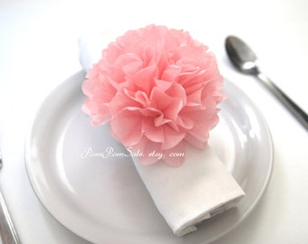 Pre-fluffed 10 Napkin tissue paper pom pom / Napkin rings ready to use- choose your colors - Baby Shower / Birthday Party / Wedding Decor