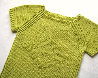 Light green summer knitted top, womans top, sweater with short sleeve