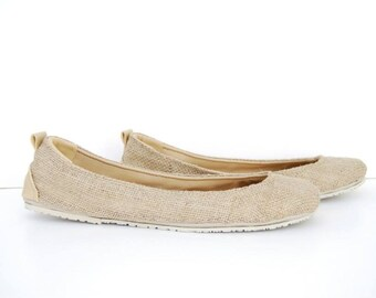 Hemp leather ballerina flat custom made