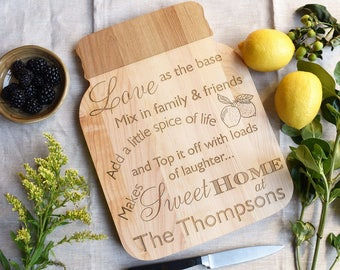 Mason Jar Wooden Cutting Board, Serving Board. Summer Party Personalized Cheese Board for Couples. Gift for Mother.