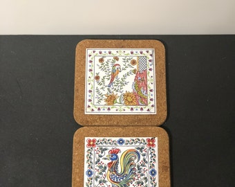 Made in Portugal Signed Hand Painted Set of Rainbow Trivets Cork and Tile
