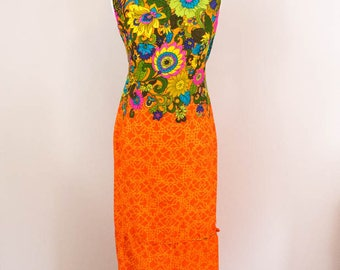 Dreamy 1960s Summer Dress - S/M - Hawaiian Dress - Neon Dress - 60s Dress - Vacation Dress - Festival Dress - Hippie Dress - 2 pc - Orange