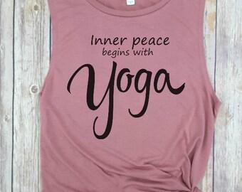Yoga Muscle Tank, Yoga Tank Top, Gym Tank Top, Yoga Tee, Yoga Clothes, Yoga Top, Namaste, good vibes, positive vibes, yoga clothes,  zen
