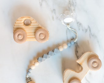 Indie & Chic Pacifier Clips - Toy Clip - Silicone Chew Beads - Wooden Paci Clips - Wooden Beads - Spring Summer Collection - Classic Gray
