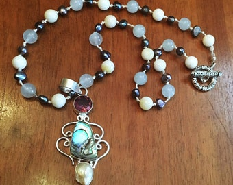 White Jade, Aquamarine and Freshwater Pearl Hand-Knotted Necklace with Amethyst and Shell Pendant