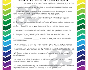 Printable Baby Shower Activity: Pass the Prize - Instant Download - Customizable Rainbow