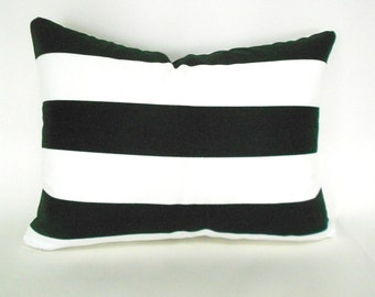 Lumbar Pillow Cover ANY SIZE Decorative Pillow Cover Black and White Pillow Premier Prints Stripe Canopy Black White