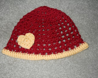 Infant-Girl's Crocheted Beanie/Hat/Cap With Heart/Flower in Collegiate/Sports Team/School/Etc. Maroon/Gold, Black/Gold, Green/Gold Colors