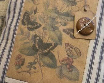 Vintage Ticking and Botanical Image Pillow