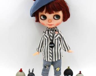 Girlish - Stripes Shirt Set for Blythe doll - dress / outfit