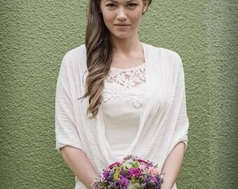 Bridal Shawl, Ivory Pleated Shrug, Elegant Stole For Bridesmaids, Bridal Party Bolero Shrug, Modest Bridal Cover Up, Wedding Wrap Shawl