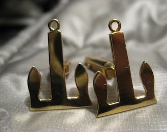 GOLD ANCHOR 750 18k solid gold cuff links. Danish design  Mid century modern