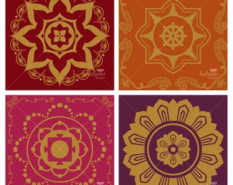 Large Golden Mandala Tiles - Printable Digital Sheet